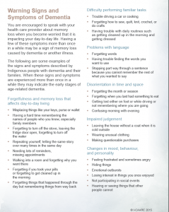 Warning Signs of Dementia from I-CAARE FactSheet